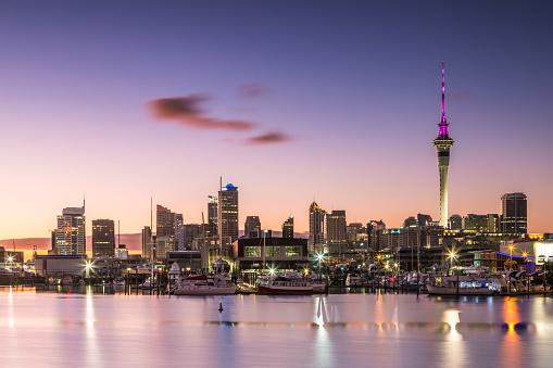 Auckland New Zealand at dusk