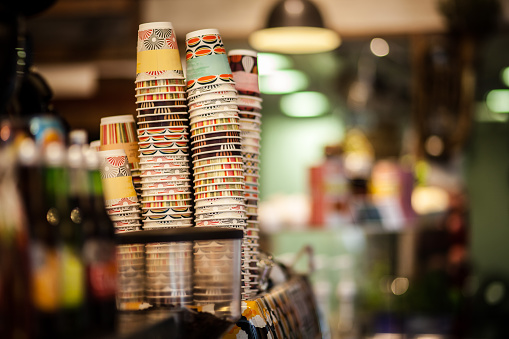 Stack of coffee cups in Auckland New Zealand
