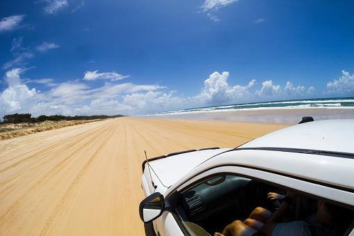 Sunshine coast beach driving