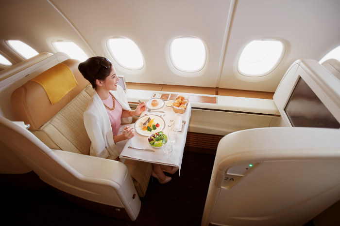 First class meal service onboard thai airways