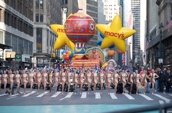 The NY Rockettes doing a routine at the start of the Thanksgiving Day Parade
