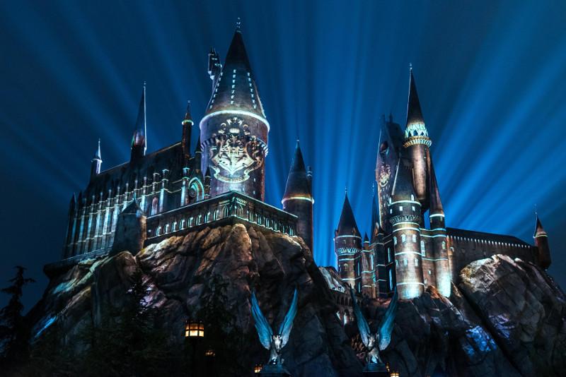 Light display over Hogwarts Castle