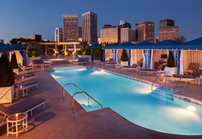 The Peninsula Beverly Hills rooftop pool sunset