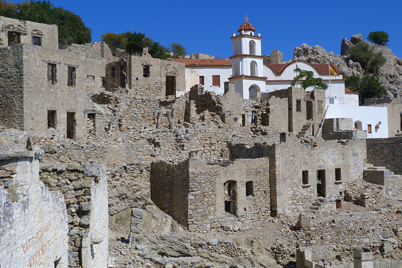 The ruins of the medieval village of Mikro Horio on Tilos island