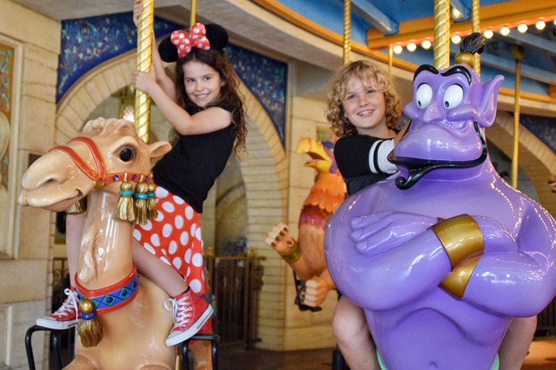Riding the carousel at Tokyo DisneySea