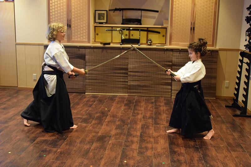 Kids doing samurai training in Tokyo