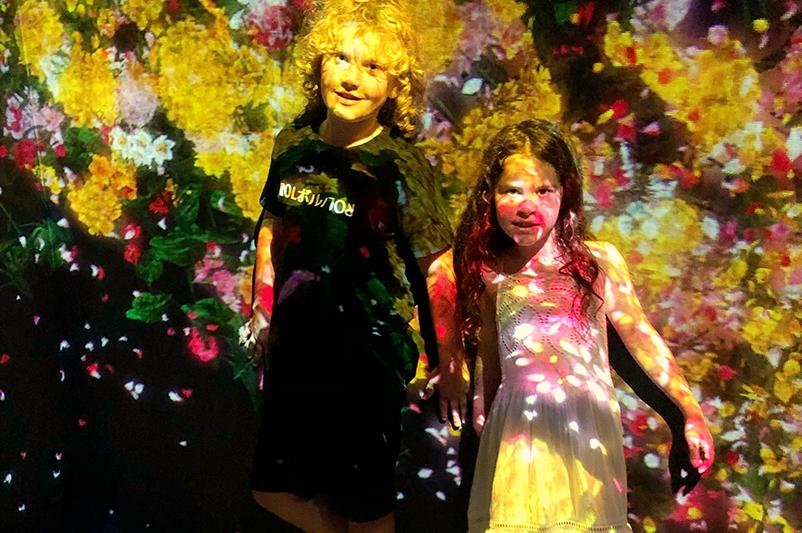 Kids at installation at teamLAb Borderless museum, Tokyo