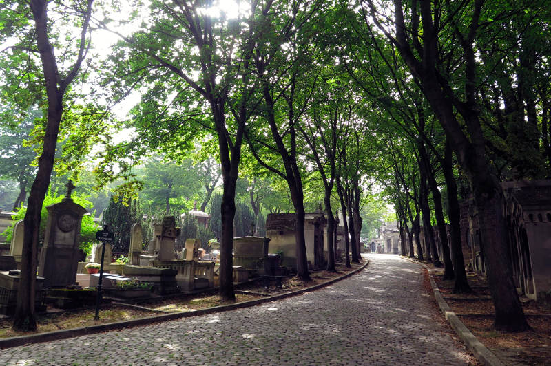Pere Lachaise cemetery in Paris, France.