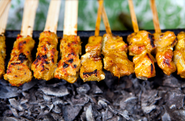 Satay street food in Bali.