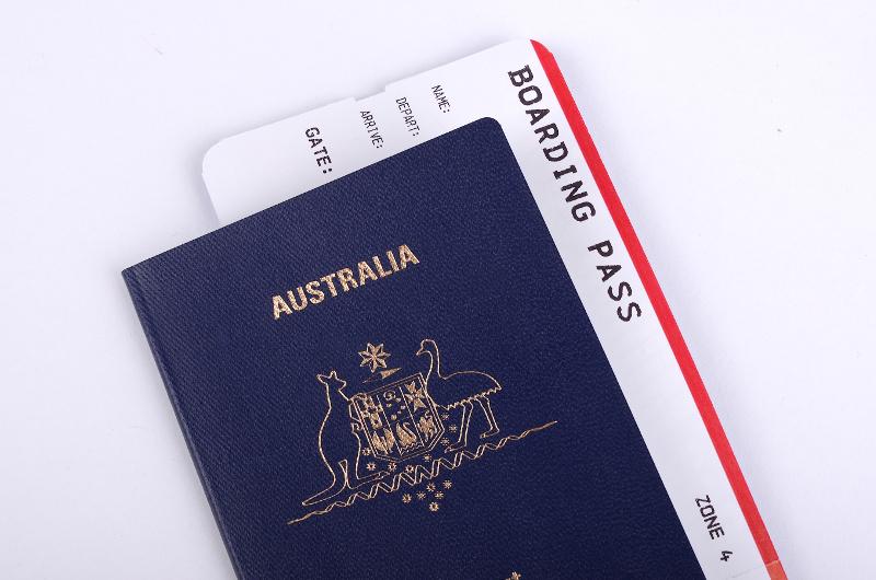 An Australian passport and boarding passes