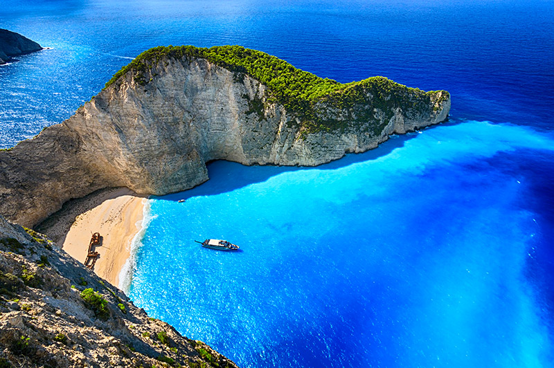 shipwreck bay greece aerial photo