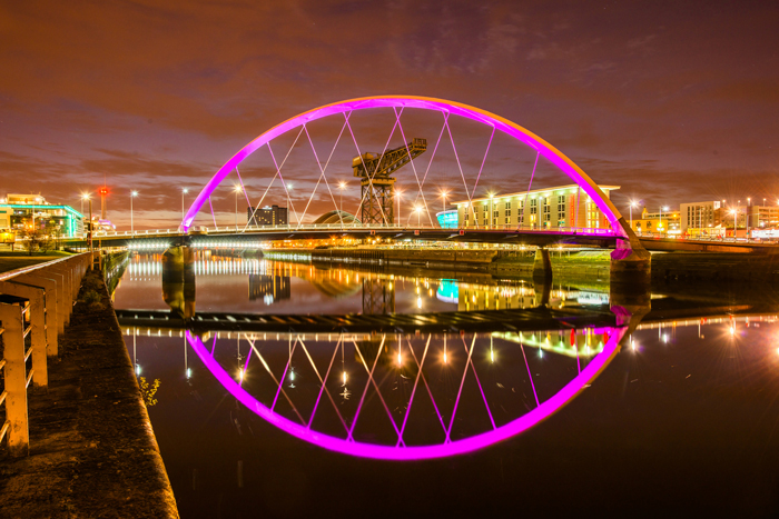 Glasgow's Squinty Bridge illuminated at night