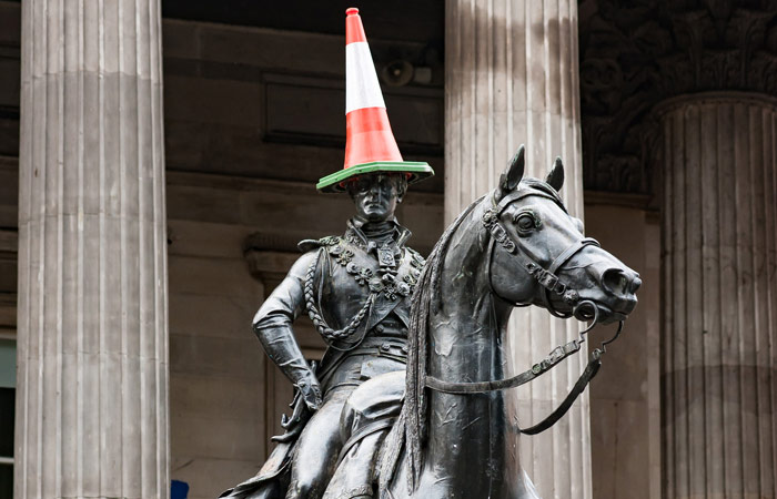 Duke of Wellington with a cone on its head, Glasgow Gallery of Modern Art