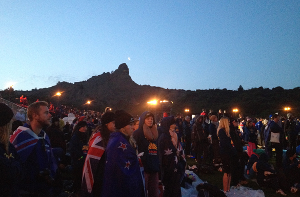 Aussie huddled together for the dawn service on Anzac Cove