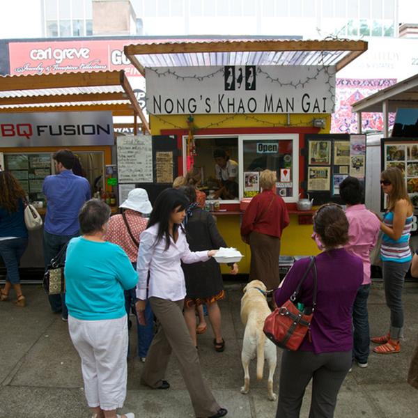 Downtown food carts, Portland, USA