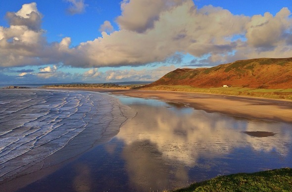 Rhossili bay sunset