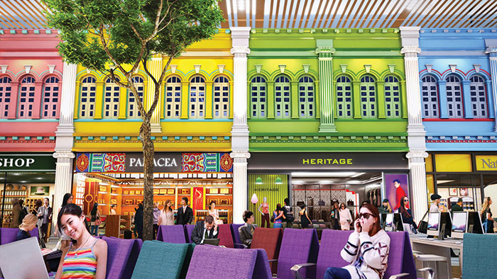 Classic Peranakan style shopfronts line the departure lounge. (Image: Changi Airport)
