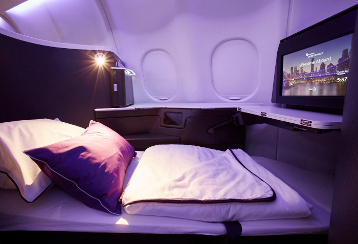 virgin australia business class lay flat bed