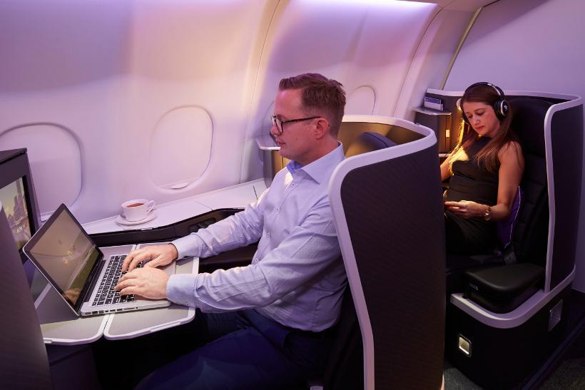 virgin australia business man on laptop