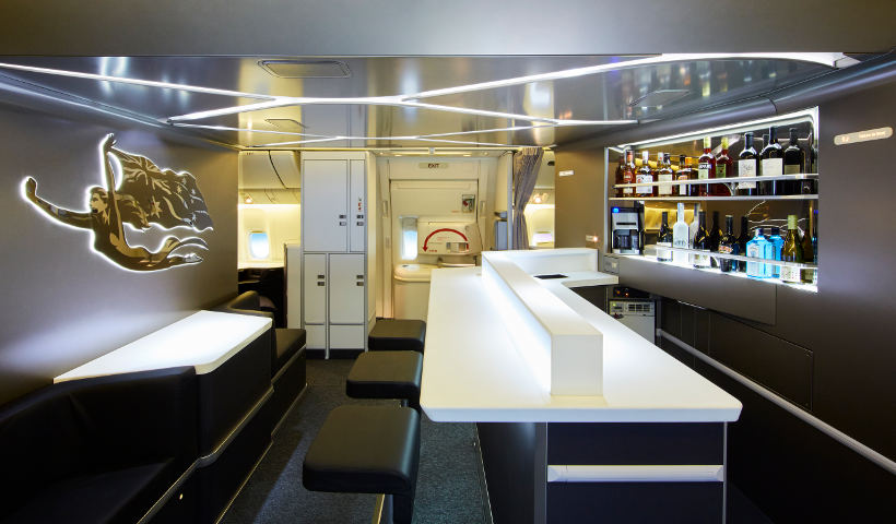Virgin Australia business class onboard bar