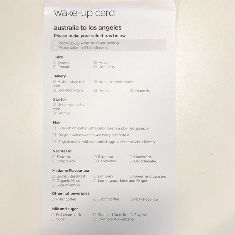 VA Premium Economy breakfast menu