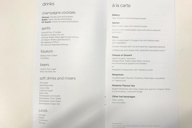 VA Premium Economy menu