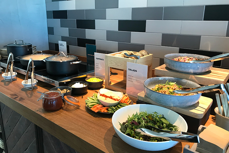 Food buffet in airport lounge