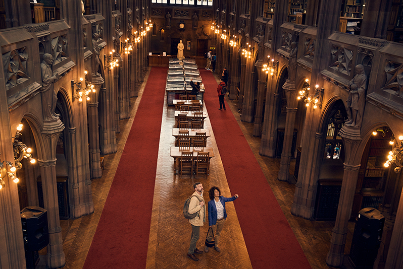 neo-Gothic Reading Room at the John Rylands Library, University of Manchester