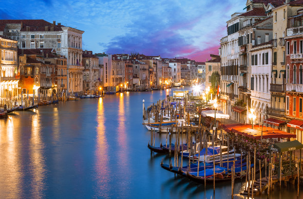 A sunset view of the Grand Canal in Venice