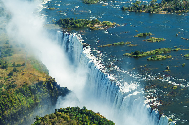 Aerial view of Victoria Falls, Zimbabwe and Zambia border