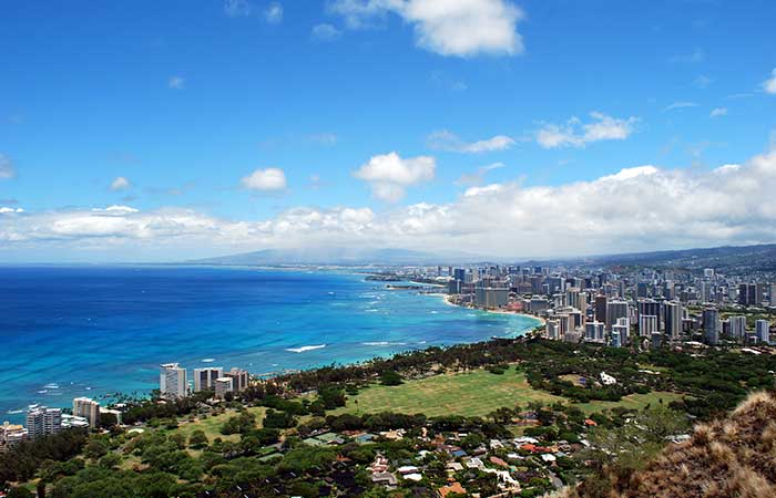 View from Diamond Head Summit, Hawaii