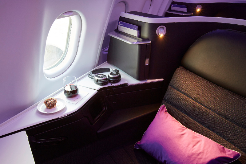 A close-up look at a Business Class seat on board Virgin Australia.