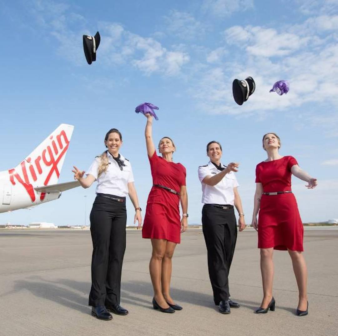 Virgin Australia staff celebrate.