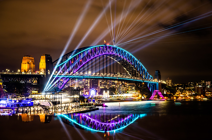 harbour bridge during vivid sydney