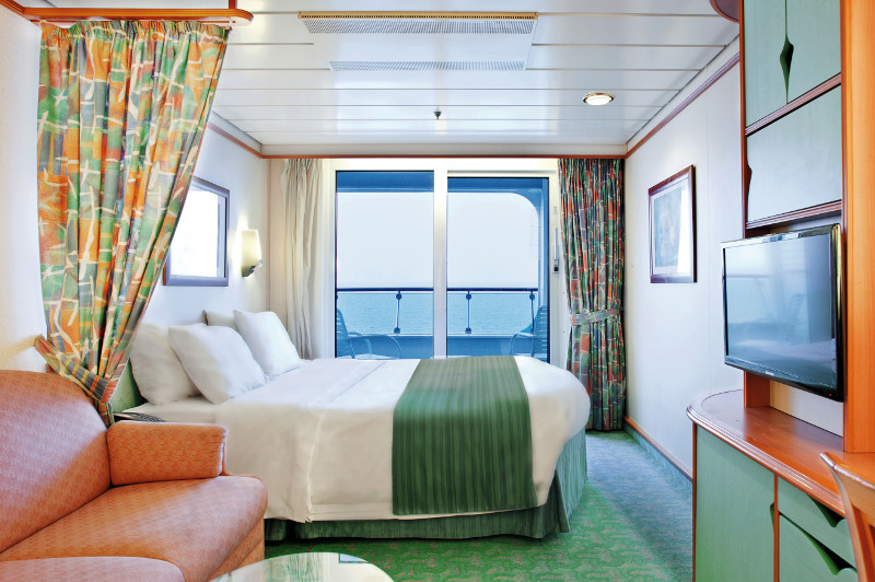 A balcony cabin on board the Royal Caribbean cruise ship Voyager of the Seas.