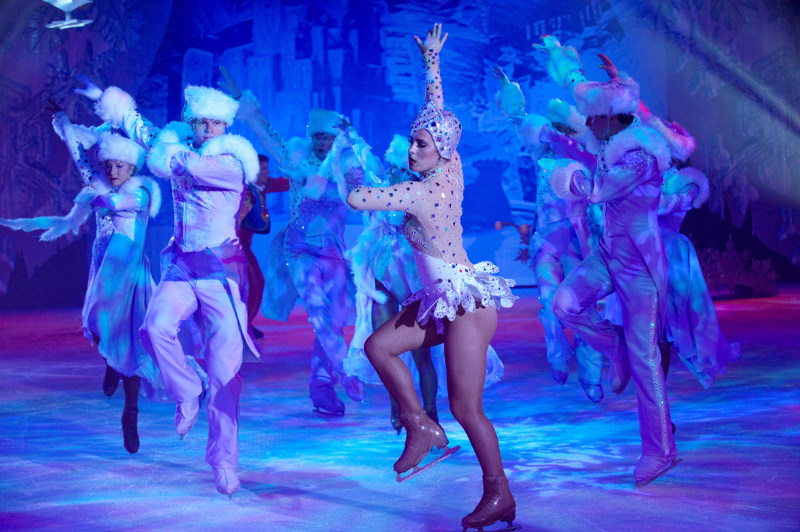 Ice-skaters perform on board Voyager of the Seas.
