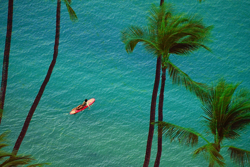 Paddling out at Waikiki Beach