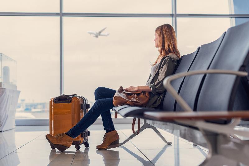 Waiting to board flight