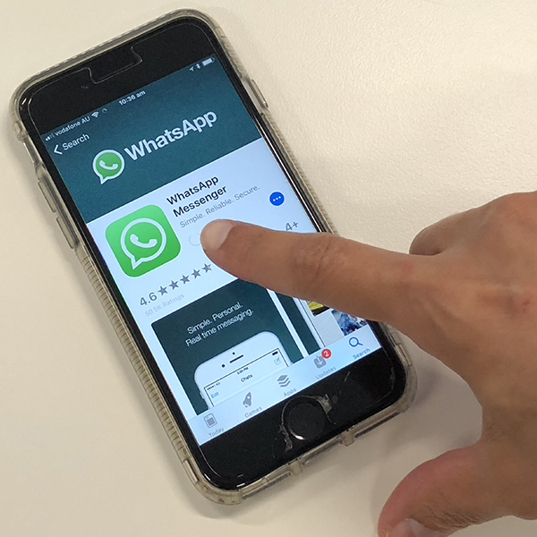 WhatsApp app on a smartphone