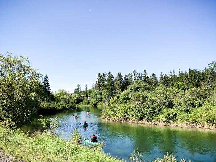 kayaking on river in whitefish montana