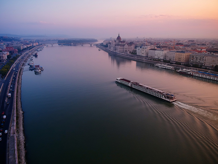 river cruise on the danube at twilight