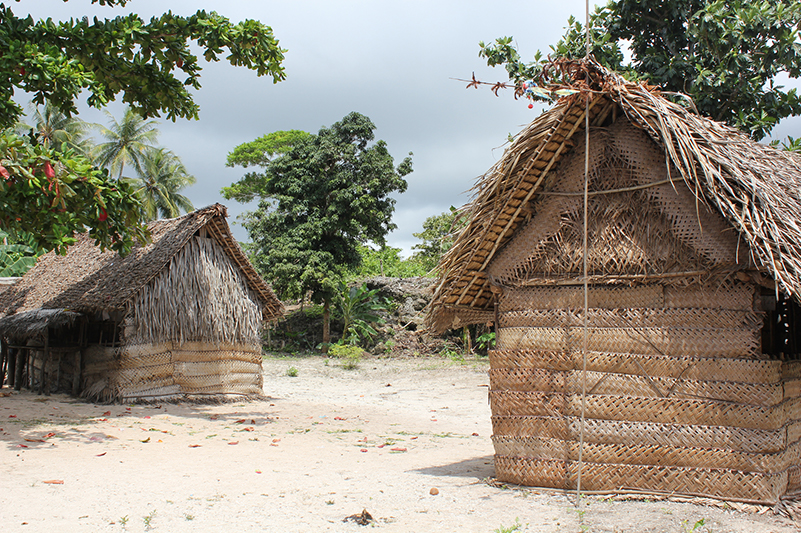 Woven palm huts on Kiriwina Island in Papua New Guinea.