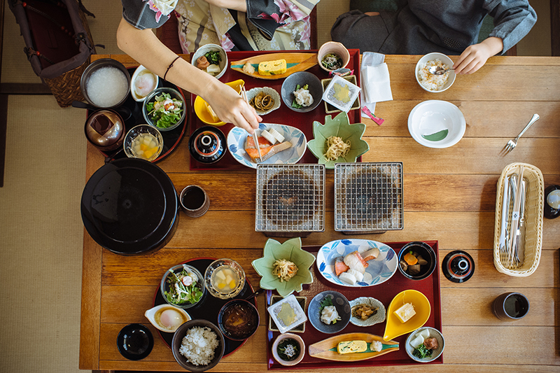 A Japanese breakfast spread.