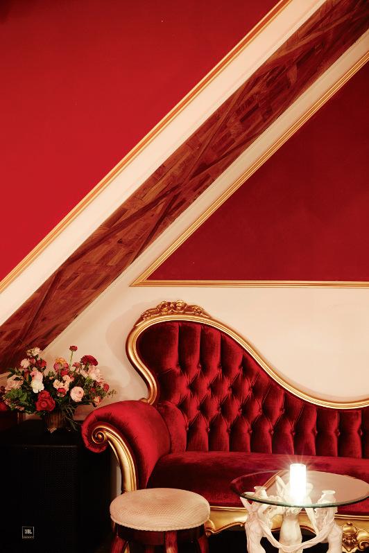 A red lounge in Brooklyn speakeasy Boudoir.