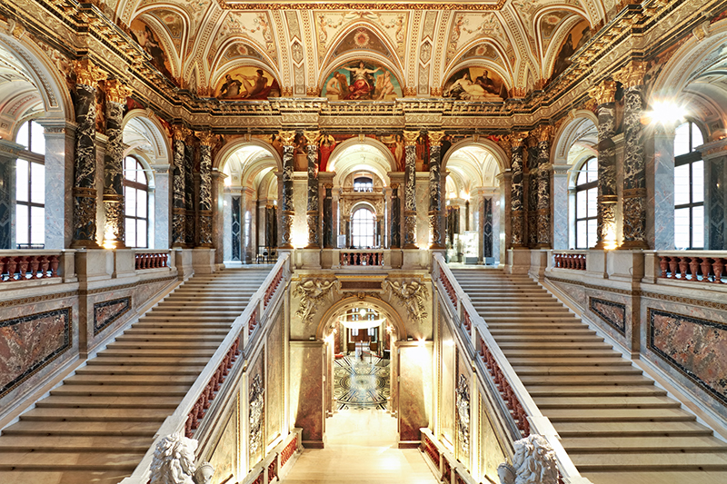 The interior staircase of in Kunsthistorisches Museum (Museum of Fine Art) in Vienna.