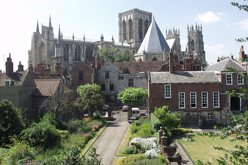 The exterior of York Minster and the Treasurers House in York.