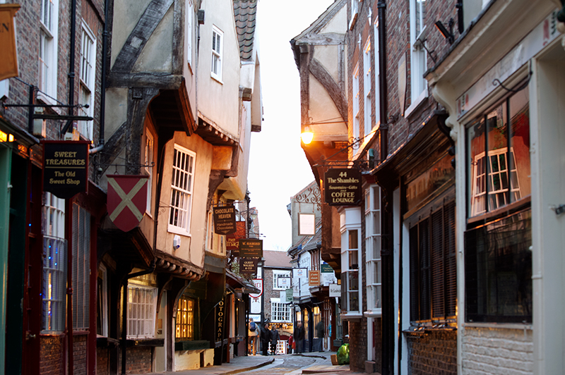 The medieval buildings of the Shambles in York.