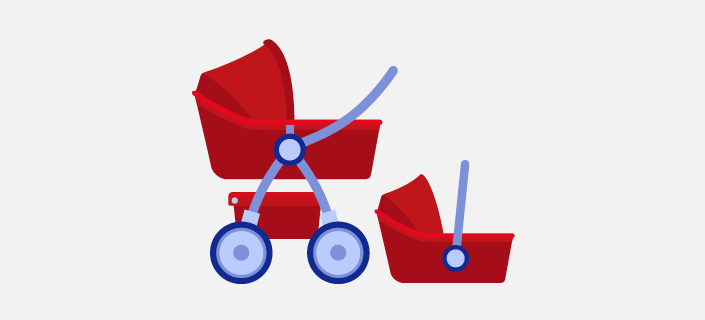 illustration, stroller and baby capsule
