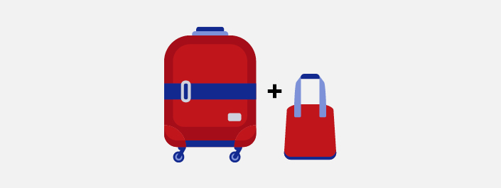 Baggage allowance carry on illustration - suitcase plus handbag
