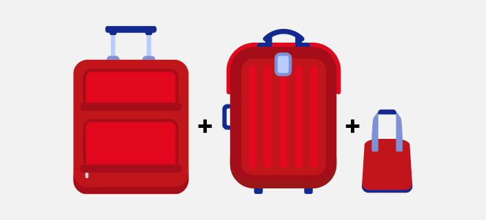 Carry on baggage allowance illustration - two suitcases plus handbag